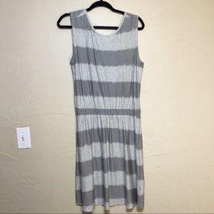 Athleta Grey Striped Dress Criss Cross Back Straps